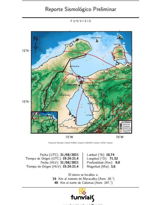 Se registró sismo en Maracaibo de magnitud 3.6